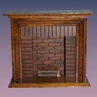 Vintage Doll Miniature Dollhouse Wood Fireplace Artist made