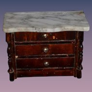 Old Doll Miniature Dollhouse Marble Top Chest