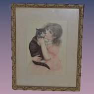 Antique Picture Girl W/ Cat Framed  1880 Gorgeous She is a Doll !