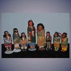 Old Doll Set lot HUGE Skookum Indian Doll Collection Wonderful Skookums W/ Blankets and Accessories