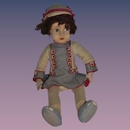 Old French Doll Cloth Felt painted Features Original Outfit Raynal Jointed