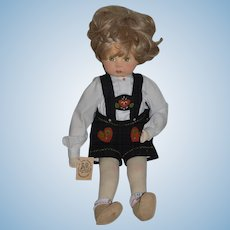 "Vintage Doll German Artist Doll Weihnachts Pupppen Cloth Doll By Gabriele Rose West ""Nicholas"""