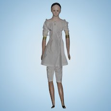 "Antique Doll Papier Mache Enamel Eyes Wood Body HUGE Wonderful Milliner's Model Body Wonderful 25"" Tall"