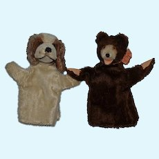 Old Mohair Dog Teddy Bear Puppy Dog Puppet Set Two Adorable