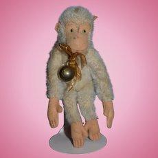 Old Doll Toy Mohair Monkey White Miniature Stuffed Animal Steiff??