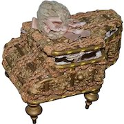 Old Miniature Piano Shaped Sewing Kit Doll Size Fancy Sewing Basket