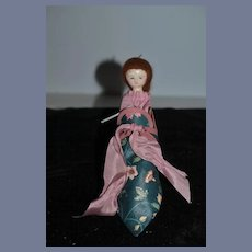 Vintage Doll Artist Doll Wood Jointed Judy Brown  Doll In Shoe Signed Sweet!