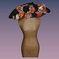 Old Doll Hat W/ Flowers and Feather Fancy