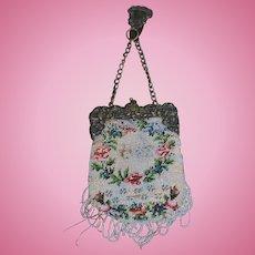 Antique Doll Beaded Purse Chatelaine Cherub Ornate