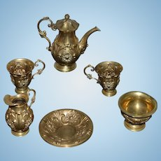 Old Chased Brass Chasing Brass Tea Set Teaset Miniature Doll Size Ornate Gorgeous!