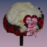 Wonderful Fur and Velvet Doll Hat W/ FLowers and Little Black Sash Balls W/ Tag Love By Becky
