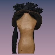 Wonderful Hat Bonnet W/ Flowers For Bisque Doll Sweet!