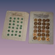 Old French Buttons On Card 4 Cards Glass and Metal Paris Mode Tiny Glass buttons For Sewing Doll Clothes