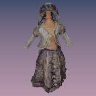 Antique Doll Dress For Fashion Doll Bonnet Skirt Top