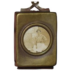 Antique Miniature Locket W/ Portrait Picture and Pentateuch The Five Books of Moses Book WONDERFUL Doll Dollhouse Thumb Book
