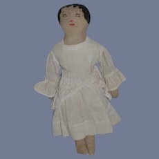 Old Cloth Doll Rag Doll Folk Art W/ Antique Clothing and Undergarments Sewn Features Sweet Doll
