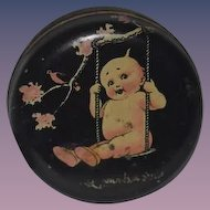 Old Doll Kewpie Tin Vanity Jar Miniature Sweet!