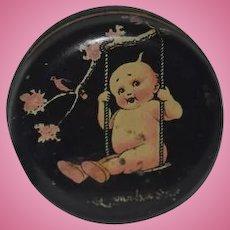 Old Doll Kewpie Tin Vanity Jar Miniature Sweet!