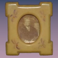Old Miniature Doll Celluloid Picture Frame with Stand and Portrait
