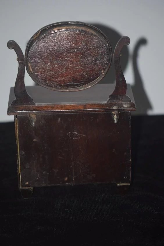 Antique Doll Miniature Wood Chest Swivel Mirror Great For
