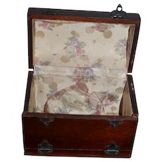 Old Doll Miniature Wood Traveling Trunk Chest Trousseau WONDERFUL Dome Top