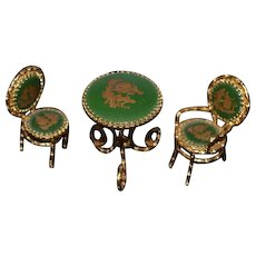 Wonderful Miniature Doll Parlor Porcelain Limoges Set Table Arm Chair and Parlor Chair