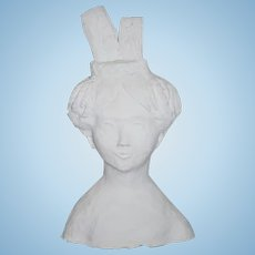 Wonderful Doll Artist Made Large Papier Mache & Plaster Head w/ Fancy Braided Buns and a Unusual Hair Style Bust