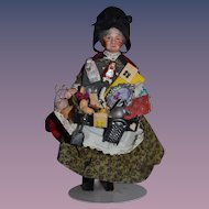 Wonderful Artist Doll Miniature Dollhouse Lady Peddler Doll W/ Tons of Miniatures China Head