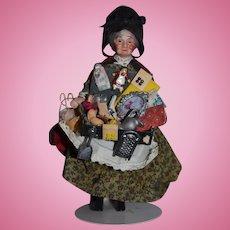 Wonderful Artist Doll Miniature Dollhouse Lady Peddler Doll W/ Tons of Miniatures China Head