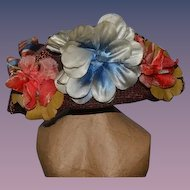 Vintage Doll Hat Straw w/ Flowers and Bow