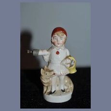 Old Doll Porcelain Figurine Miniature Dollhouse Girl W/ Dog and Bottle German