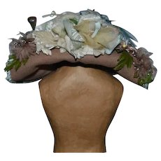 Vintage Doll Hat Flowers Feathers and Bow Sweet