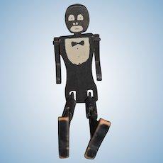 Old Wood Doll Black Man Jointed Dancing Folk Art Black Americana