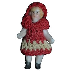 Antique Doll Miniature All Bisque Jointed In Crochet Outfit Dollhouse TINY