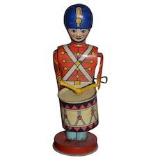 Old Tin Toy Wind up Drum Major Soldier J.Chein
