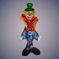 Old Italian Glass Clown Figurine Jester Murano Fancy Statue W/ Old label KB Creations Koscherak Brothers New York