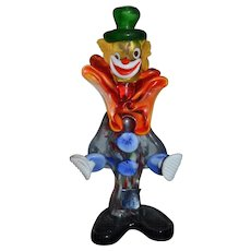 Old Italian Glass Clown Figurine Jester Murano Fancy Statue W/ Old label KB Creations Koscherak Brothers New York
