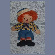 Old Raggedy Andy Cloth Doll Two Faces Awake and Asleep