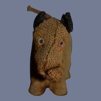 Old Miniature Cloth Dog w/ Sock in his Mouth Wind up Dollhouse Doll