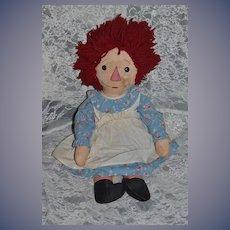Old Doll Raggedy Ann Cloth Doll Unusual Adorable