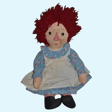 Old Doll Raggedy Ann Cloth Doll Unusual Adorable
