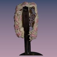 Antique Doll Bonnet Fancy Ribbon Needle Work Hat