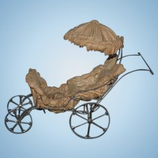 Antique Doll Pram Carriage Buggy Metal Victorian Miniature For French Fashion Doll To Push Stroller