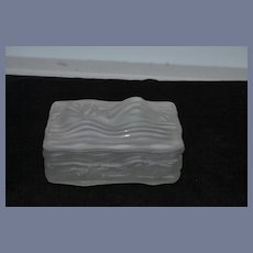 Old Glass Nude Figurine Box Swimmer Doll Figural  Large Bathing Beauty Box