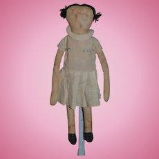 Old Doll Unusual Cloth Doll Rag Doll Surprised look Sweet