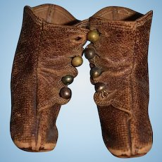 Antique Doll Leather Shoes Boots Button Up Sweet