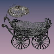 Antique Doll Miniature Wire Metal Carriage Pram Stroller Dollhouse
