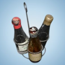 Old Metal Bottle Holder Miniature W/ Glass Bottles HENKELL Dollhouse Fashion Doll Accessory