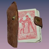 Antique Doll Miniature Playing Cards in Leather Case Book
