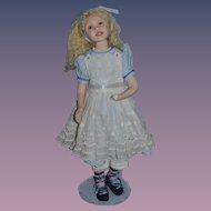 "Wonderful Wax Doll Artist Doll Signed Hanna Swivel Neck Gorgeous Glass eyes 20"" Tall FLO HANOVER ORIGINAL"